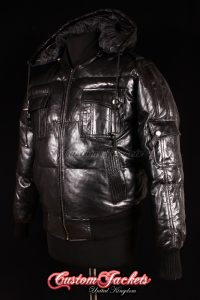 Men's LOCKHEED PUFFER HOODED Black Quilted Down Lambskin Real Leather Aviator Bomber Jacket