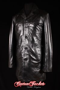 Men's METROPOLITAN Black Lambskin Real Leather Office Knee Length Jacket Trench Coat