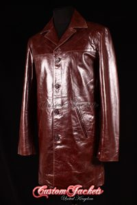 Men's METROPOLITAN Brown Glazed Lambskin Leather Knee Length Casual Jacket Trench Coat