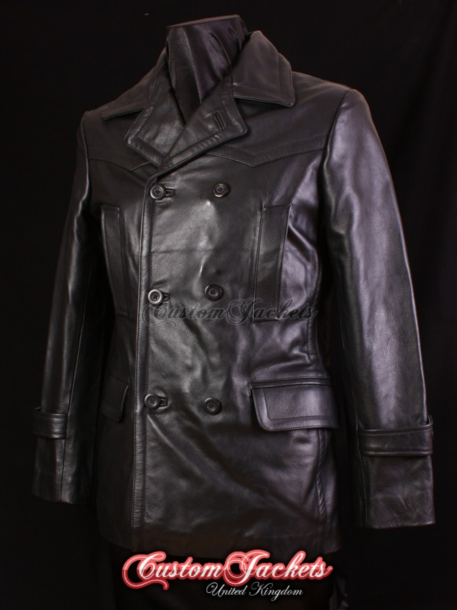 Men's KRIEGSMARINE Black Cowhide Leather WW2 German U-Boat Pea Coat Jacket