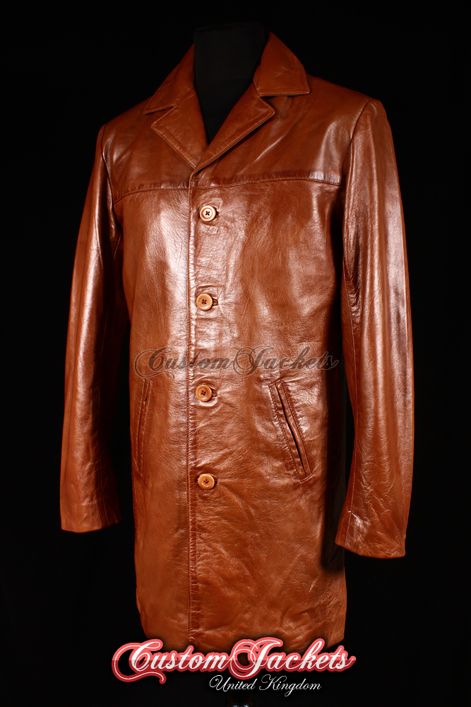 Men's METROPOLITAN Tan Washed Lambskin Real Leather Casual Knee Length Jacket Trench Coat