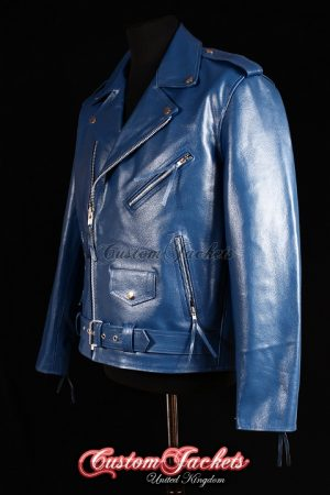 Men's BRANDO Blue Cowhide Real Genuine Leather Motorcycle Motorbike Biker Jacket