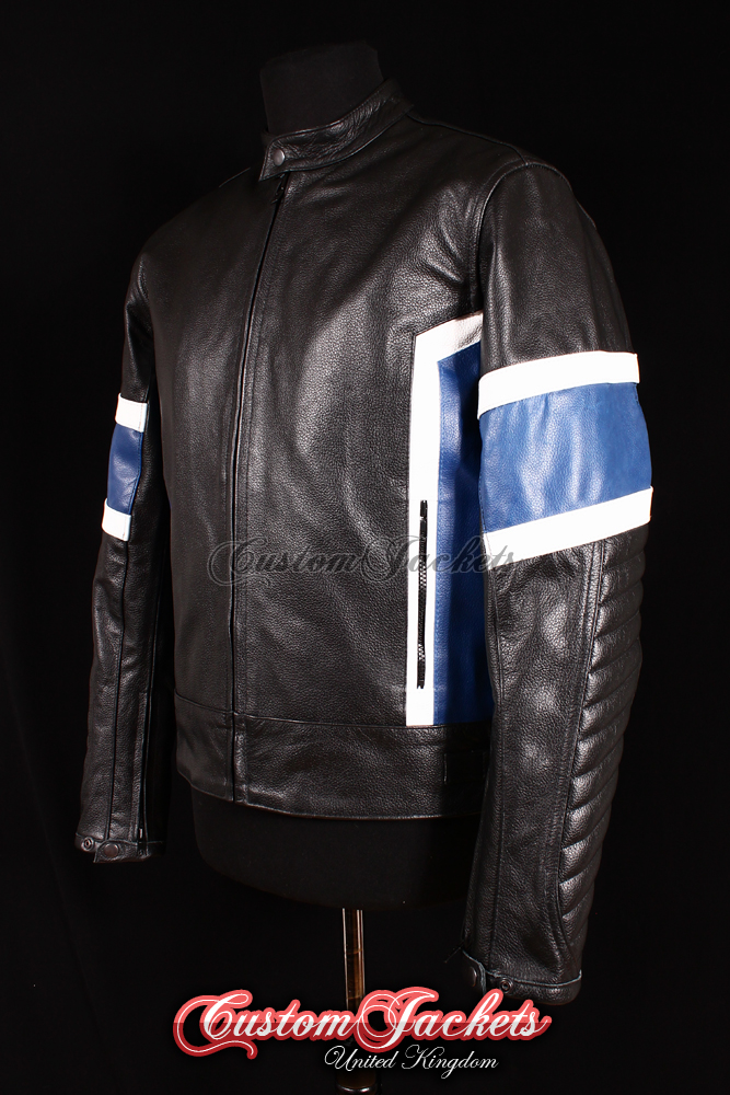 Men's MOTORRAD RACING Black & Blue Cowhide Real Leather Biker Motorcycle Motorbike Jacket