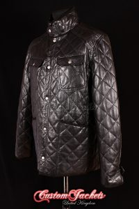 Men's NORFOLK Black Diamond Quilted Lambskin Real Leather Warm Winter Jacket Coat