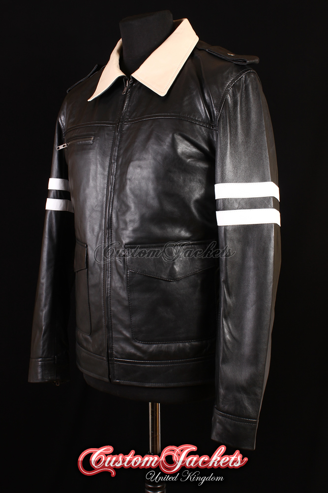 Men's PROTOTYPE Black & Beige Dragon Embroidery Lambskin Genuine Leather Cosplay Jacket