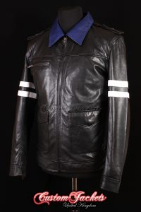 Men's PROTOTYPE Black & Blue Dragon Embroidery Lambskin Real Leather Game Cosplay Jacket
