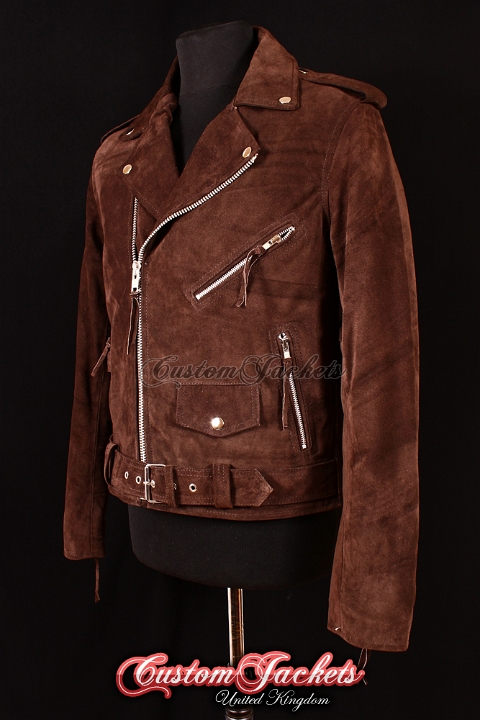 Men's BRANDO Brown All Suede Real Cowhide Leather Motorcycle Motorbike Biker Jacket