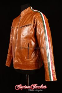 Men's RACING STRIPES Tan Glazed Lambskin Red, Green, White Italian Stripped Leather Biker Jacket