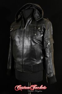 Men's LOCKHEED Black Lambskin Hooded Real Leather Pilot Aviator Bomber Jacket