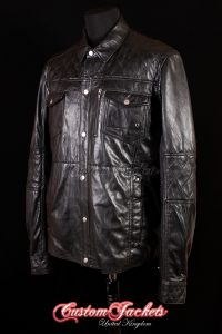 Men's RANGER Black Lambskin Biker Police Motorcycle Real Leather Shirt Style Jacket