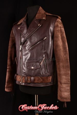 Men's BRANDO Brown Suede & Cowhide Real Leather Motorcycle Motorbike Biker Jacket