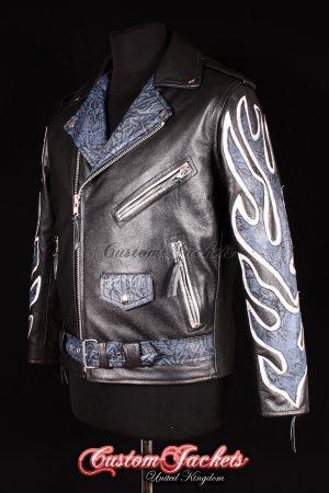 Men's BRANDO Black with Blue & White Flames Real Cowhide Leather Motorcycle Motorbike Biker Jacket