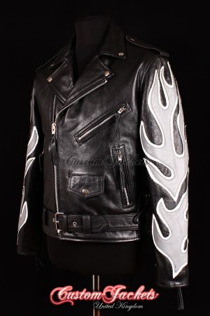 Men's BRANDO Black with Grey & White Flames Real Cowhide Leather Motorcycle Motorbike Biker Jacket