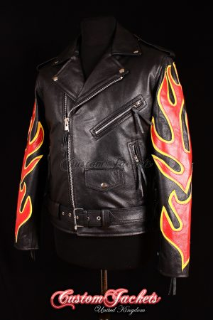 Men's BRANDO Black with Red & Yellow Flames Real Cowhide Leather Motorcycle Motorbike Biker Jacket