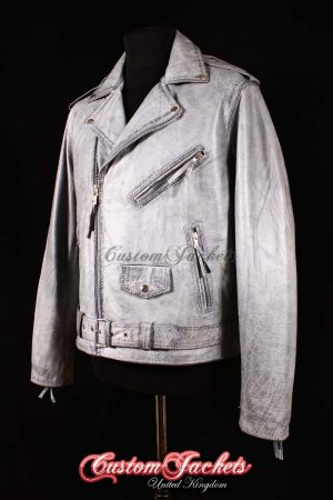Men's BRANDO Grey Washed Glazed Lambskin Real Genuine Leather Motorcycle Motorbike Biker Jacket