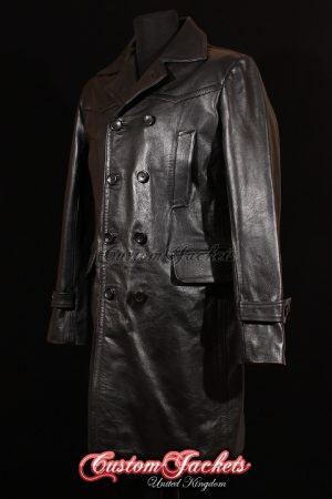 Men's U-BOAT Black Cowhide Leather WW2 German Kriegsmarine Military Trench Pea Coat Jacket