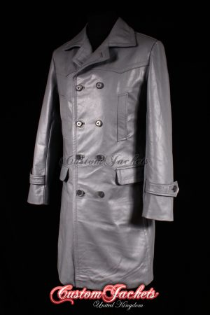 Men's U-BOAT Grey Cowhide Leather WW2 German Kriegsmarine Military Trench Pea Coat Jacket