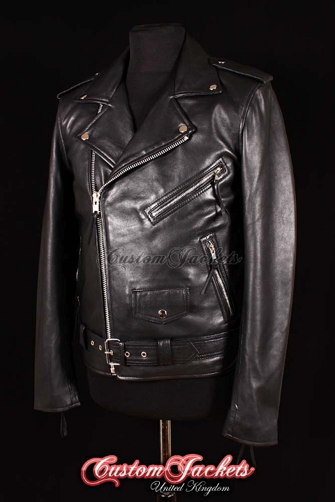 Men's BRANDO SLIM-FIT Black Lambskin Real Genuine Soft Leather Motorcycle Motorbike Biker Jacket
