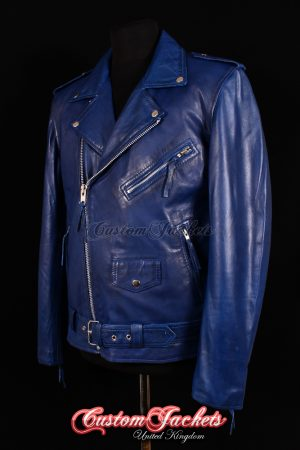Men's BRANDO SLIM-FIT Blue Washed Lambskin Real Genuine Soft Leather Motorcycle Motorbike Biker Jacket