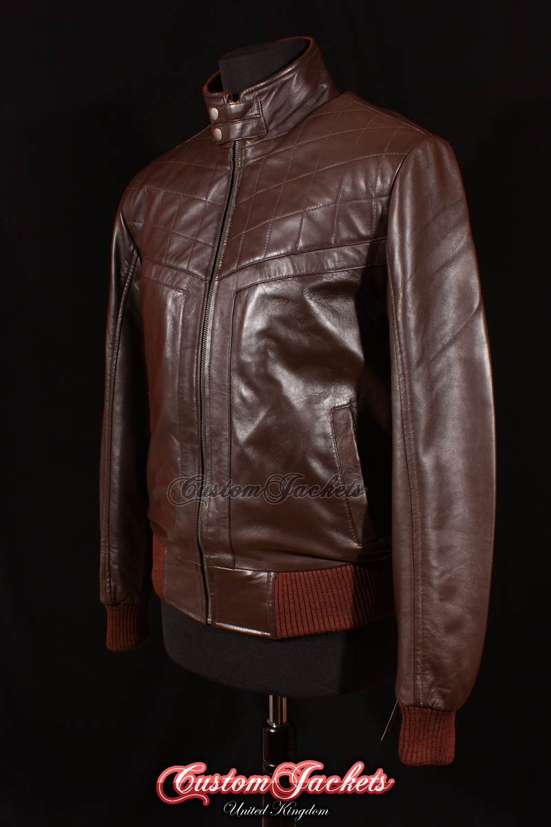 85419aaab Men's PLAYER Brown Lambskin Leather Classic Quilted Retro Bomber ...
