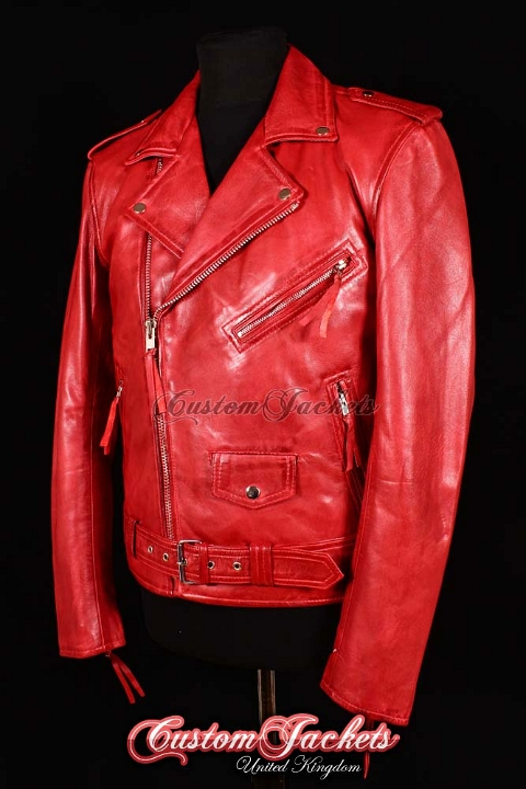 Men's BRANDO SLIM-FIT Red Washed Lambskin Real Genuine Soft Leather Motorcycle Motorbike Biker Jacket