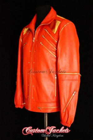 Men's BEAT IT Orange & Gold Lambskin Leather Michael Jackson Waistcoat Jacket