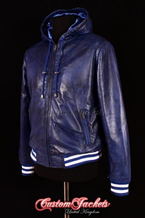 Men's BASEBALL HOODED Blue with White Stripes Lambskin Real Leather Hip Hop Style Jacket