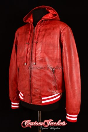 Men's BASEBALL HOODED Red with White Stripes Lambskin Real Leather Hip Hop Style Jacket