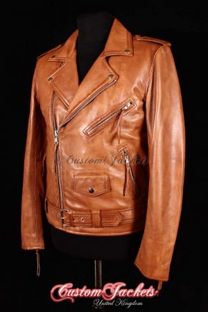 Men's BRANDO SLIM-FIT Tan Washed Lambskin Real Genuine Soft Leather Motorcycle Motorbike Biker Jacket
