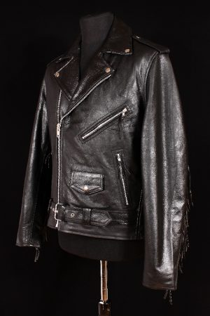 Men's BRANDO TASSELED Black Cowhide Real Genuine Leather Western Classic Cowboy Motorcycle Biker Jacket