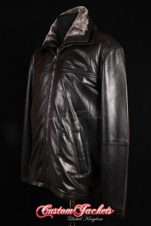 Men's BRUTE Black Lambskin Dual Fur Collar Real soft Leather Casual Winter Reefer Jacket Coat