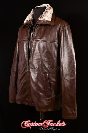 Men's BRUTE Brown Lambskin Dual Fur Collar Real soft Leather Casual Winter Reefer Jacket Coat