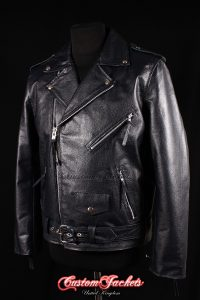 Men's BRANDO Black Cowhide Motorcycle Motorbike Biker Real Genuine Leather Jacket