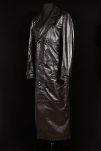 Men's BUFFY VAMPIRE SLAYER Black Lambskin Real Leather Full Length German Military Jacket Trench Coat