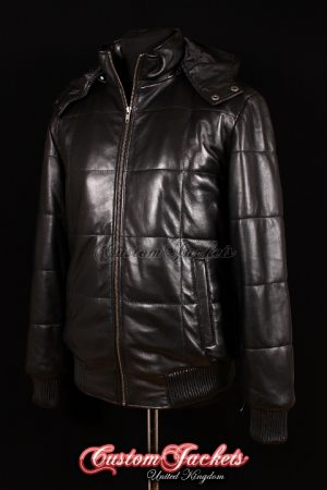 Men's COLORADO HOODED PUFFER Black Quilted Soft Lambskin Real Genuine Leather Jacket Coat