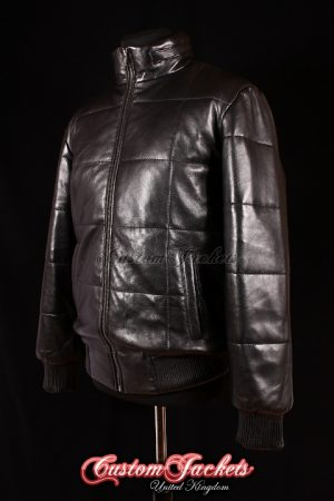 Men's COLORADO PUFFER Black Quilted Soft Lambskin Real Genuine Leather Jacket Coat