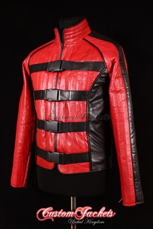 Men's STARGATE COMMANDO Red & Black Lambskin Leather Film Movie Cosplay Jacket
