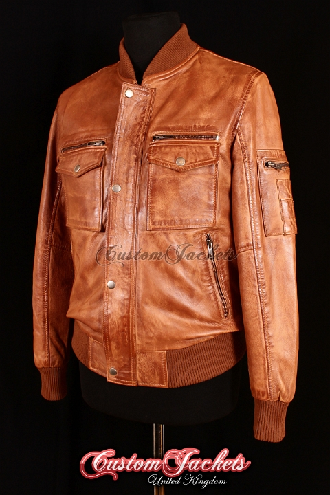 Men's DELTA AVIATOR Tan Washed Lambskin Real Soft Leather Aviator Bomber Jacket