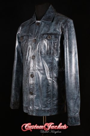 Men's DRIFTER Blue Washed Glazed Lambskin Real Genuine Leather Trucker Shirt Style Jacket