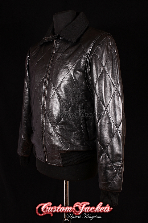 Men's DRIVE Black Lambskin with Silver SCORPION Quilted Real Leather Movie Film Ryan Gosling Jacket