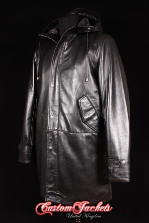 Men's CLASSIC DUFFLE Black Lambskin Hooded Real Soft Leather Jacket Long Coat
