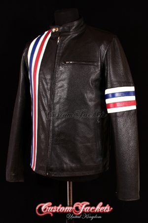 Men's EASY RIDER Black Cowhide Red & Blue Stripe Motorcycle Biker Real Leather Jacket