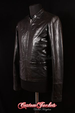 Men's ESSEX Black Wrinkled Lambskin Joe Celebrity Film Movie Real Leather Jacket