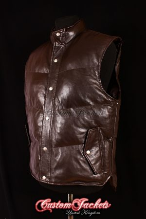 Men's EVEREST Brown Washed Lambskin Quilted Puffer Real Soft Leather Waistcoat Winter Vest