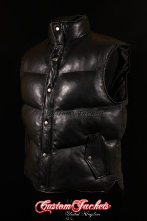 Men's EVEREST Black Lambskin Quilted Puffer Down Real Genuine Soft Leather Waistcoat Winter Vest