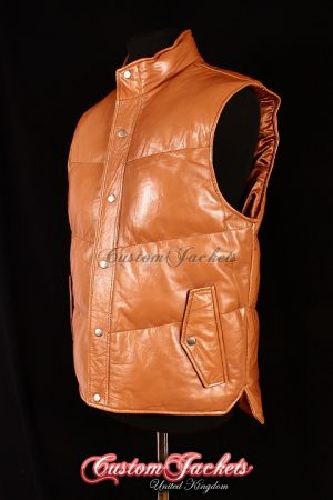 Men's EVEREST Tan Lambskin Quilted Puffer Down Real Soft Leather Waistcoat Winter Vest