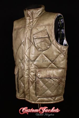 Men's SHOOTER Green Washed Lambskin Quilted Puffer Down Real Leather Waistcoat Farmer Vest