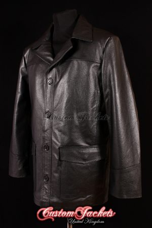 Men's FIGHT CLUB Black Cowhide Real Leather Reefer Film Movie Style Reefer Jacket