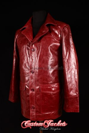 Men's FIGHT CLUB Burgundy Cherry Red Glazed Leather Film Movie Brad Pitt Jacket Coat