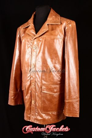 Men's FIGHT CLUB Tan Glazed Lambskin Real Genuine Leather Film Movie Jacket